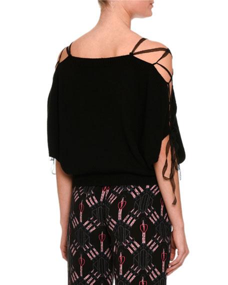Lace-Up Cold-Shoulder Sweater, Black
