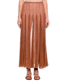 Pleated Chiffon Lace Maxi Skirt, Beige