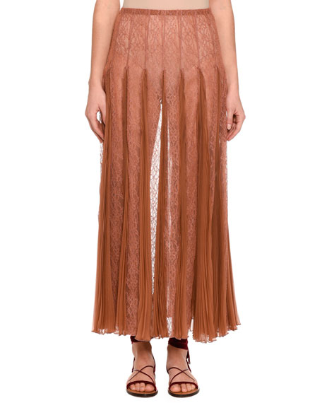Valentino Pleated Chiffon Lace Maxi Skirt, Beige