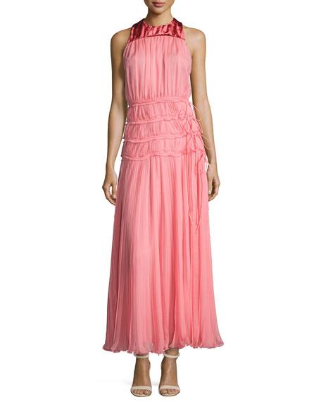 Sleeveless Ruched Chiffon Long Dress, Pink