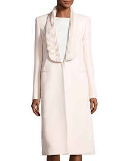 Piped Lapel Mid-Length Coat, Pink