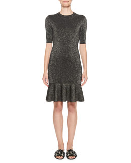 Metallic Knit Half-Sleeve Dress, Black