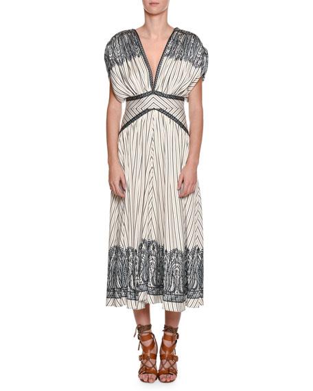 Jasmin Fan-Pleated Midi Dress