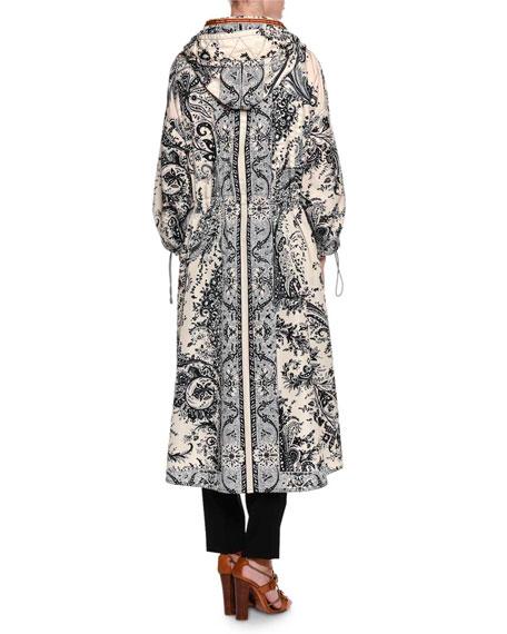 Long Paisley-Print Jacket, White