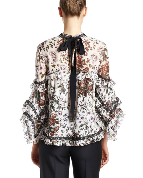 Rexana Ruffled Floral-Print Top, White