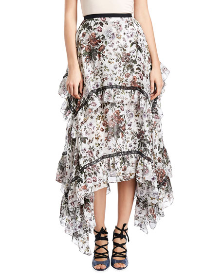 Nova Floral Tiered Midi Skirt, White