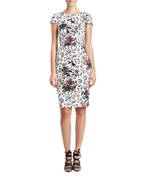 Marion Short-Sleeve Sheath Dress, White