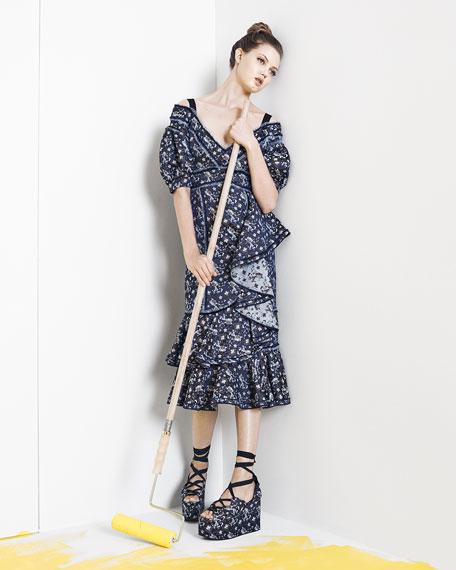 Kaitlyn Floral-Print Midi Dress, Blue