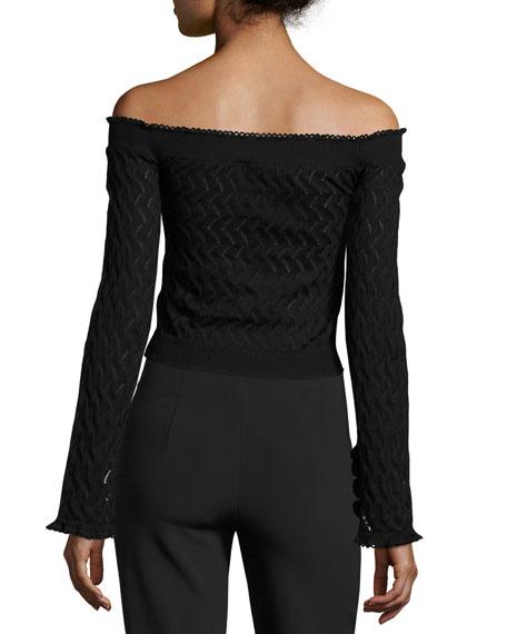 Bella Zigzag Knit Off-Shoulder Top, Black