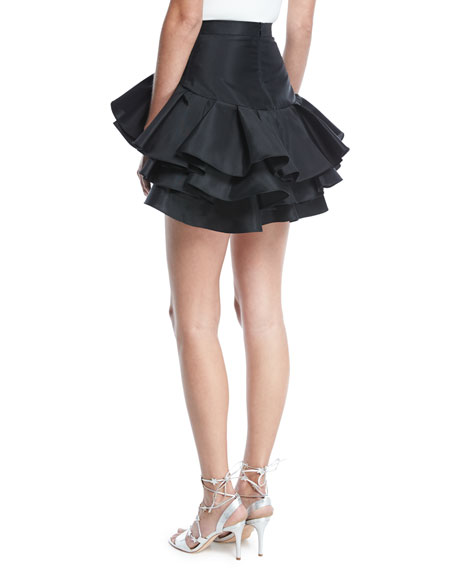 Tiered Ruffle Cocktail Skirt, Black