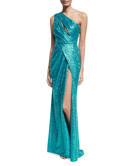 Elie Saab Sequined Drape-Front One-Shoulder Gown, Blue