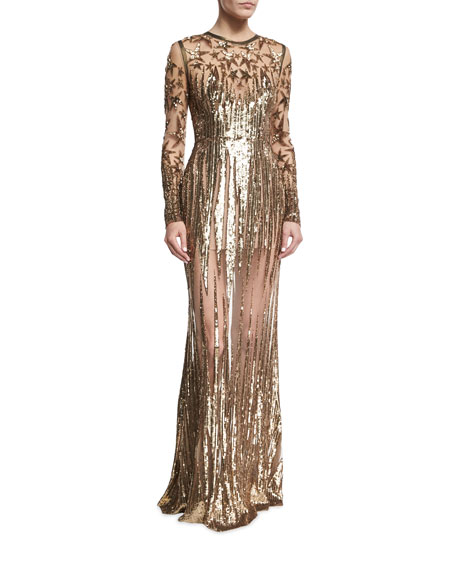 Illusion Star-Beaded Tulle Gown, Gold