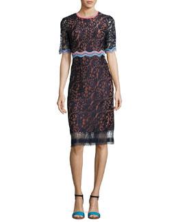 Half-Sleeve Lace Sheath Dress, Navy
