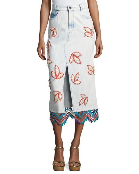 Embroidered Denim Pencil Skirt, Sky