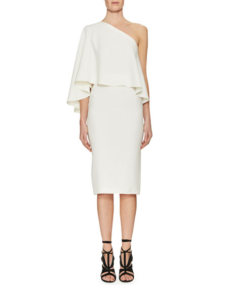 Amaral One-Shoulder Overlay Dress, White