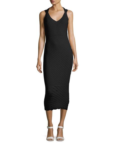 Fish Scale Jacquard Midi Dress, Black