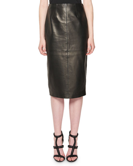 Plonge Leather Pencil Skirt, Black
