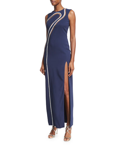 Sleeveless Swirl-Embroidered Crepe Gown