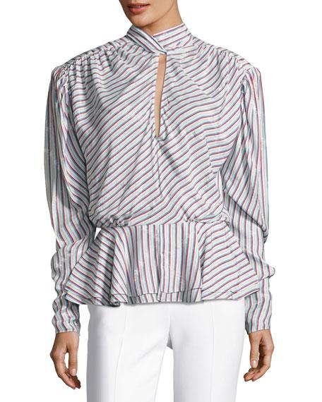 Striped Satin Keyhole Top, White Pattern