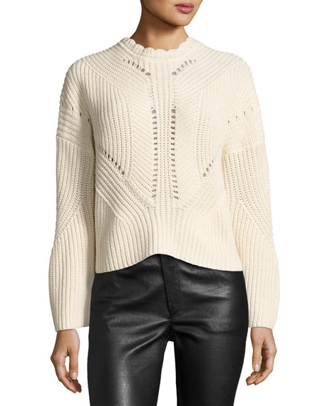 Grifin Knit Lace-Up Sweater, Neutral