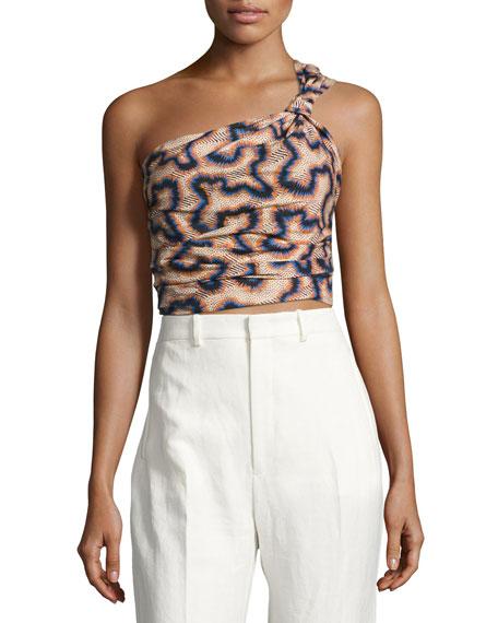 Lilia One-Shoulder Crop Top, Neutral Pattern