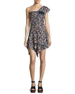 Ricco One-Shoulder Silk Dress, Black