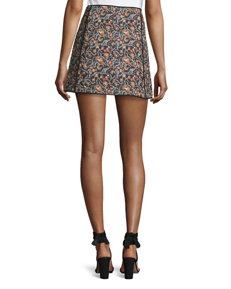 Prunella Wrap-Front Mini Skirt, Multi Pattern