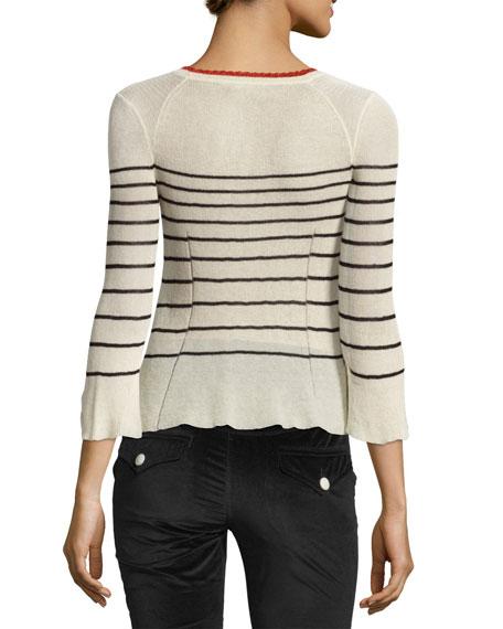 Amalia Striped Scoop-Neck Sweater, Neutral Pattern