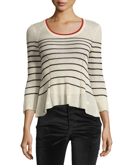 Amalia Striped Scoop-Neck Sweater, Neutral Pattern