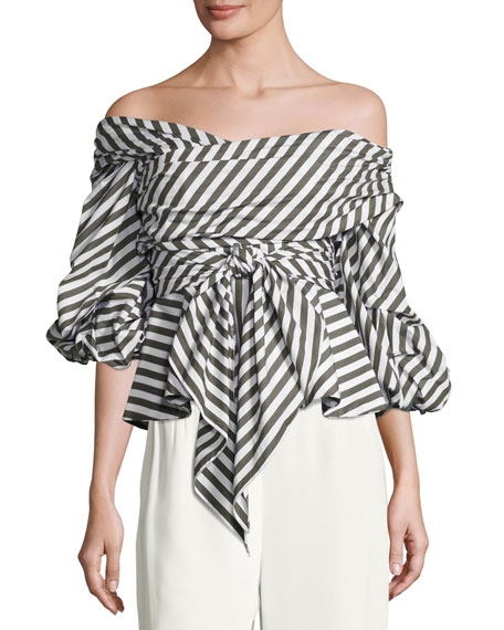 Santa Rosa Striped Off-Shoulder Top, White Pattern