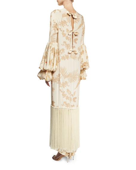 johanna ortiz recife puff sleeve fringe tunic dress khaki. Black Bedroom Furniture Sets. Home Design Ideas