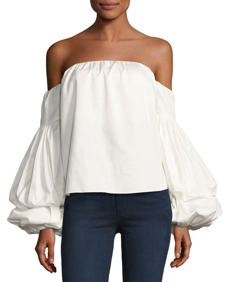 Manaure Off-Shoulder Poplin Top, White