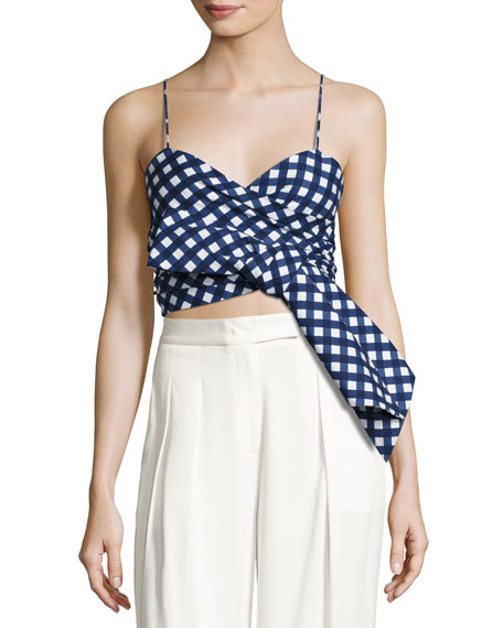Ritual Plaid Poplin Crop Top, Blue