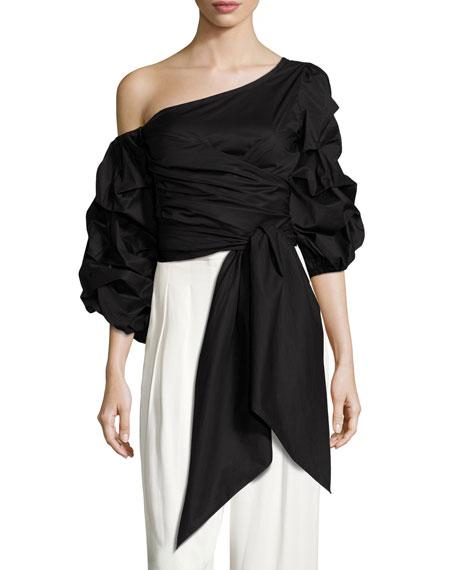 Leticia Off-Shoulder Poplin Wrap Top, Black