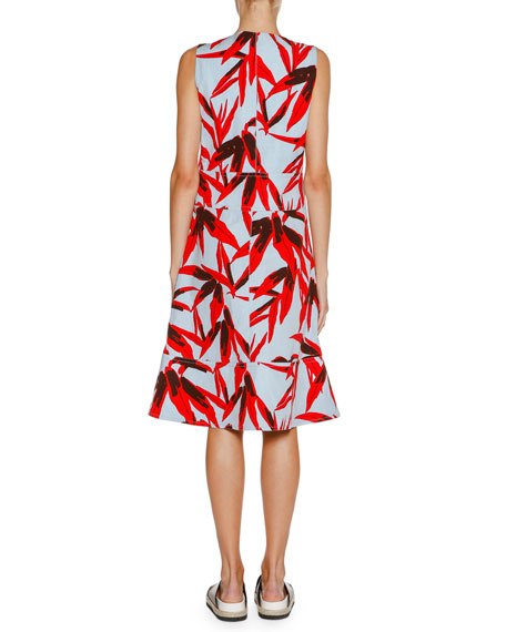 Printed Sleeveless Midi Dress, Bamboo