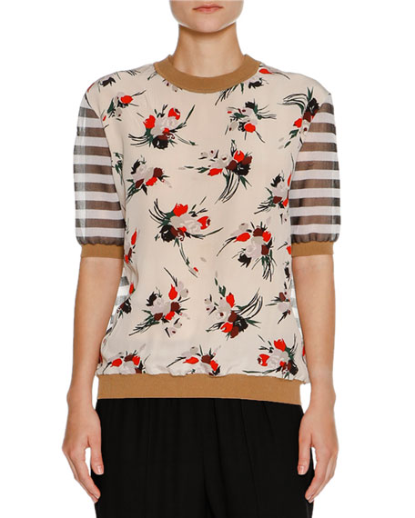 Floral Striped Crewneck Sweater, Multi
