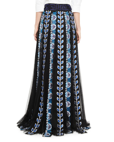 Embroidered Tulle Panel Maxi Skirt, Blue/Black