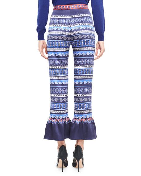 Printed Satin Ruffle-Cuff Pants, Blue