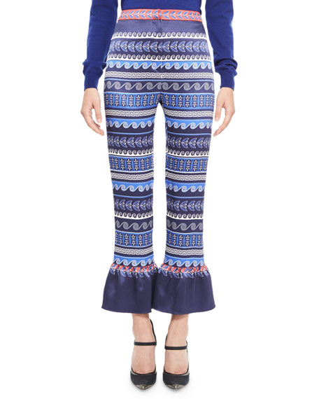 Printed Satin Ruffle-Cuff Pants, Blue