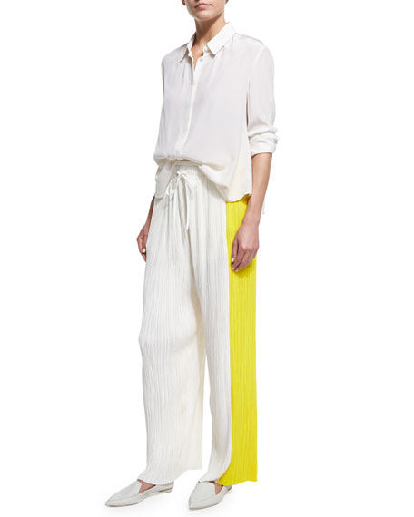 Pleated Colorblock Wide-Leg Pants, Multi