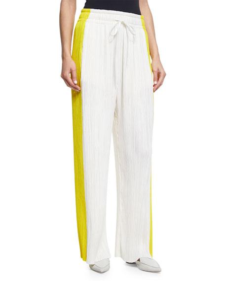 Pleated Colorblock Wide-Leg Pants, Multi
