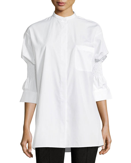 Haider Ackermann Woman Smocked Cotton-poplin Top White Size 34 Haider Ackermann For Sale Buy Authentic Online Cheap Best Prices Safe Payment 6PRPW
