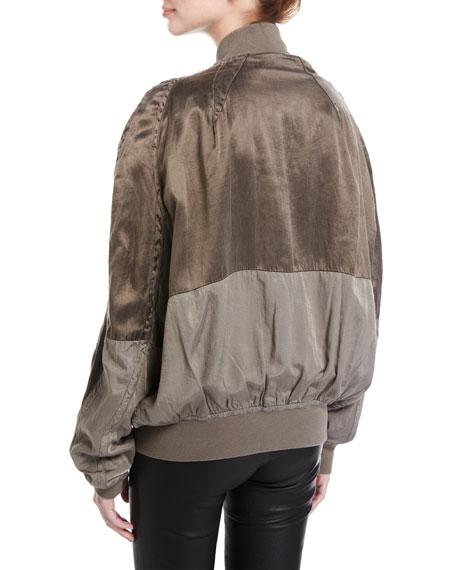 3faa56816 Satin Patchwork Bomber Jacket Olive