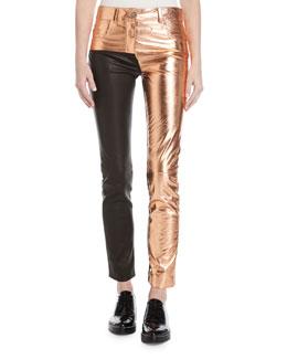 Two-Tone Metallic Leather Leggings, Multi
