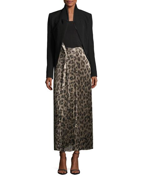 Pleated Metallic Leopard-Print Midi Skirt