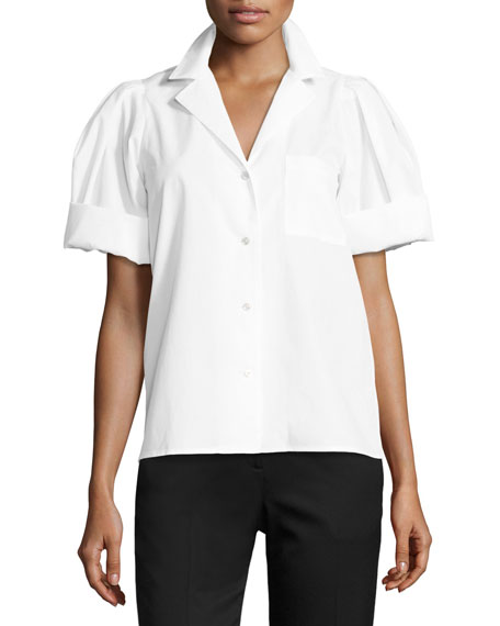 Crystal-Embellished Puff-Sleeve Blouse, White