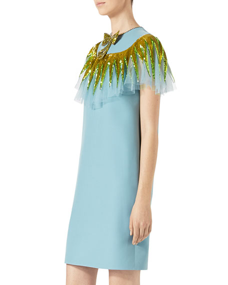 Wool/Silk Cocktail Dress, Blue