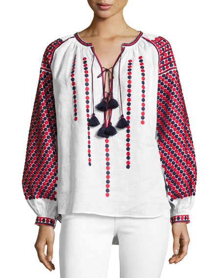 Dot-Embroidered Tassel-Tie Top, White Pattern