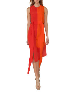Sleeveless Colorblock Sash Dress, Orange