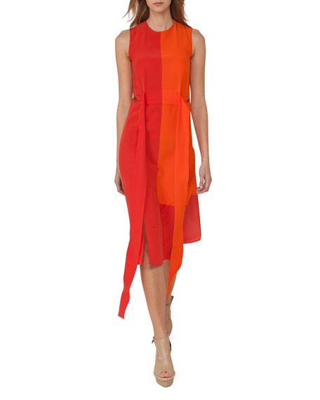 Akris Sleeveless Colorblock Sash Dress, Orange